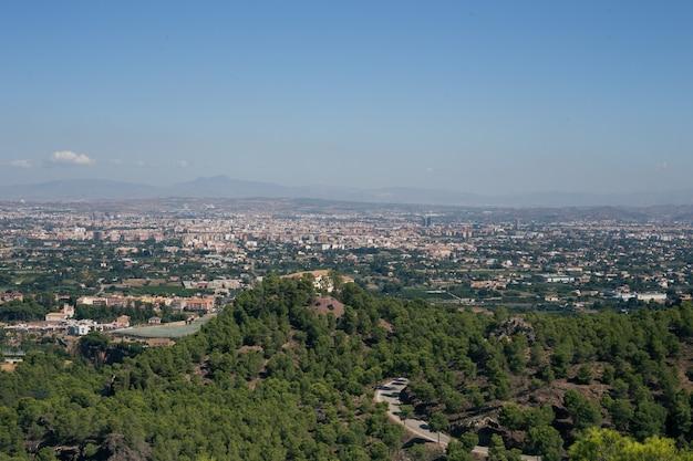 Luchtfoto van het landschap van de stad murcia