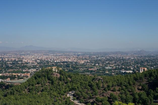 Luchtfoto van het landschap van de stad murcia Premium Foto