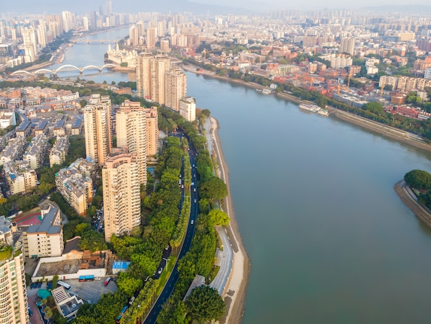 Luchtfoto van het moderne architectonische landschap van fuzhou, china
