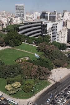 Luchtfoto van het monument voor de gevallenen in malvinas