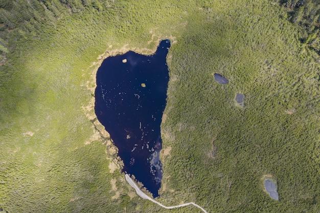 Luchtfoto van het ribnica-meer, omringd door een veld in slovenië