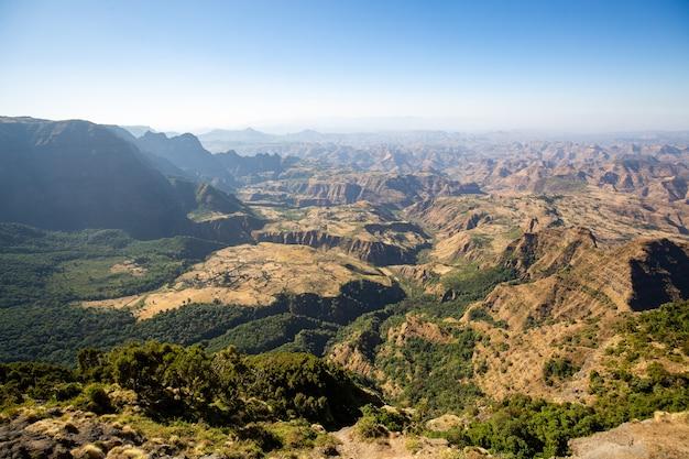 Luchtfoto van het semien-gebergte, ethiopië, hoorn van afrika