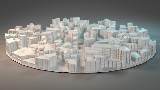 Luchtfoto van het stadsconcept. 3d-afbeelding