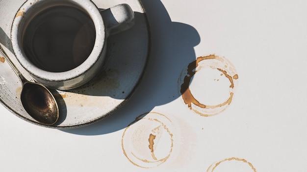 Luchtfoto van hete koffie