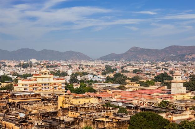 Luchtfoto van jaipurcity palace complex. jaipur, india