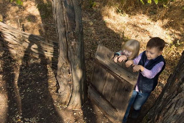 Luchtfoto van jonge kleine kinderen spelen in het bos in de schaduw met hoge bomen.