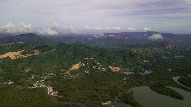 Luchtfoto van landschapsberg thailand