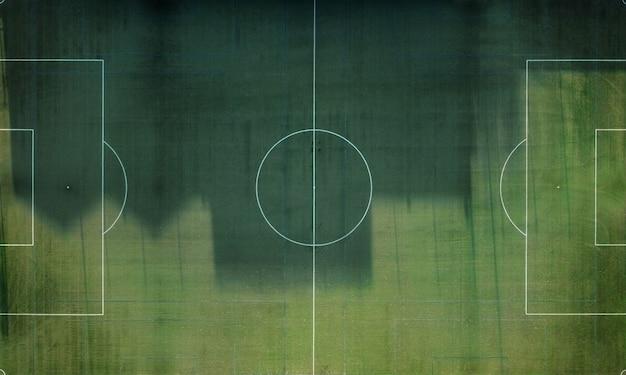 Luchtfoto van lege voetbalveld.