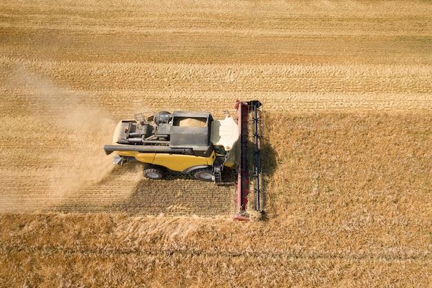 Luchtfoto van maaidorser die groot rijp tarweveld oogst. landbouw vanuit drone-weergave.