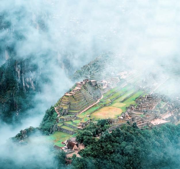 Luchtfoto van machu picchu