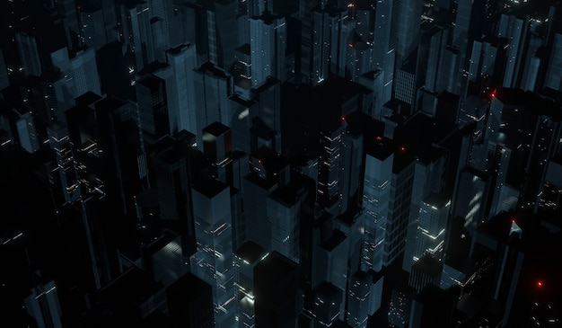 Luchtfoto van megastad 's nachts