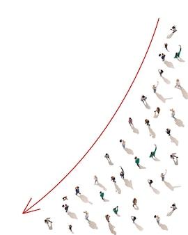 Luchtfoto van menigte mensen verbonden door lijnen, sociale media en communicatieconcept. bovenaanzicht van mannen en vrouwen geïsoleerd op een witte achtergrond met rode pijl. online blijven, internet, technologieën.