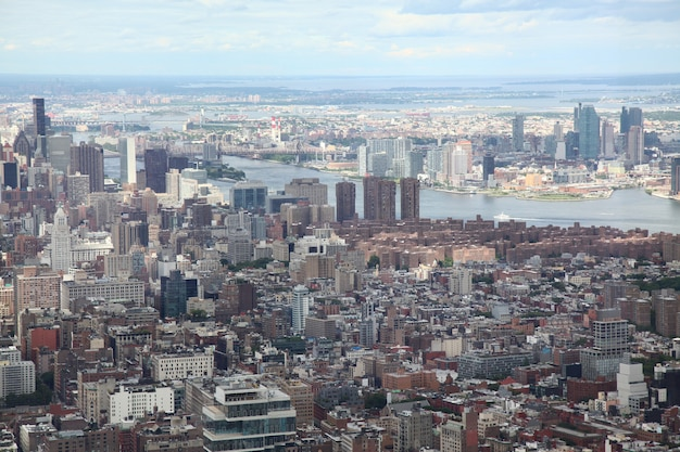 Luchtfoto van new york city uit één wereldhandel gebouw