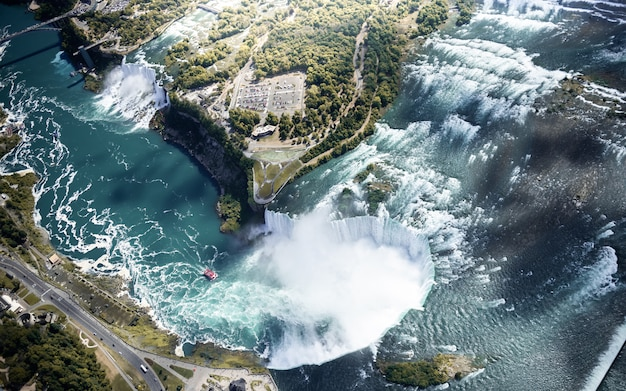 Luchtfoto van niagara waterval canada en de vs