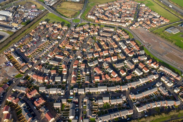 Luchtfoto van nieuwe huizen in bridgwater, somerset, uk