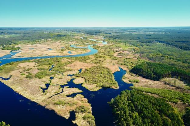Luchtfoto van rivieroverstromingsplan en groen bos in de zomer