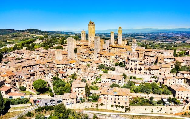 Luchtfoto van san gimignano, in toscane, italië