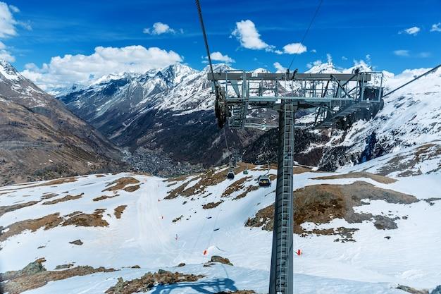 Luchtfoto van snowy mountain matterhorn met skihuis, zermatt, zwitserland