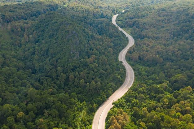 Luchtfoto van traject weg in bos, uitzicht vanaf drone