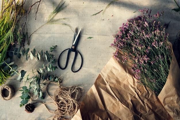 Luchtfoto van verse bloemstuk