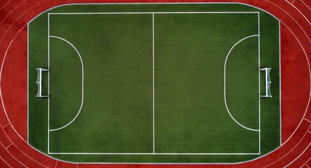 Luchtfoto van voetbalveld of sportstadion
