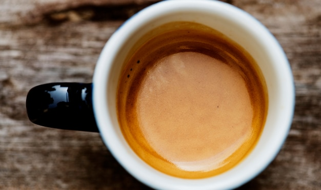 Luchtfoto van warme koffie