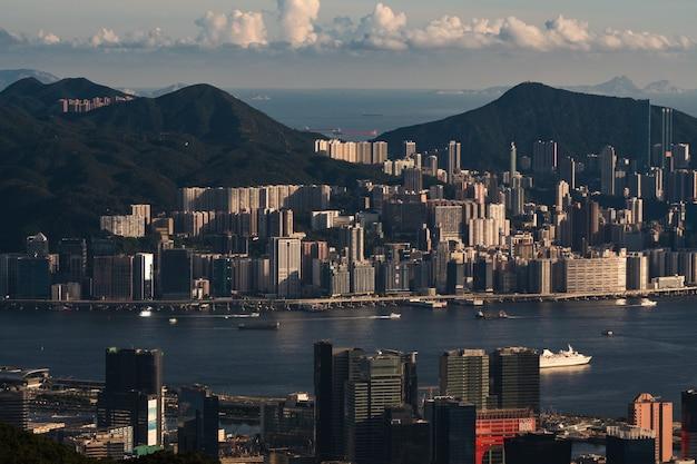 Luchtfoto vanuit hong kong