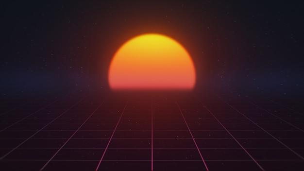 Luchtfoto. vlucht over de grid, jaren 80 retro sci-fi. illustratie