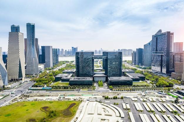 Luchtfotografie cbd centrum van qianjiang new city, hangzhou
