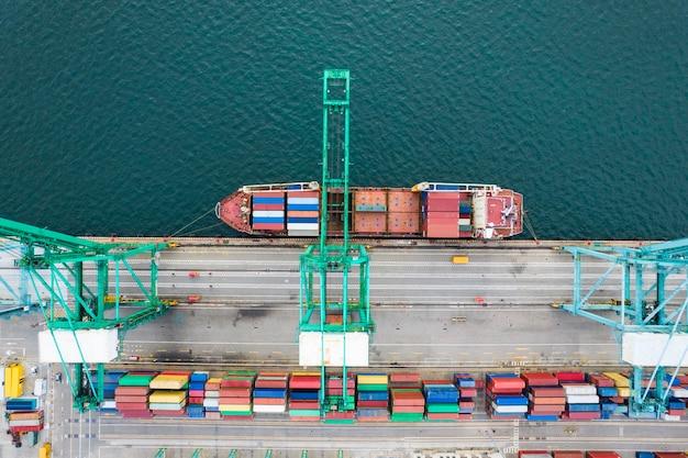 Luchtfotografie van containerterminal