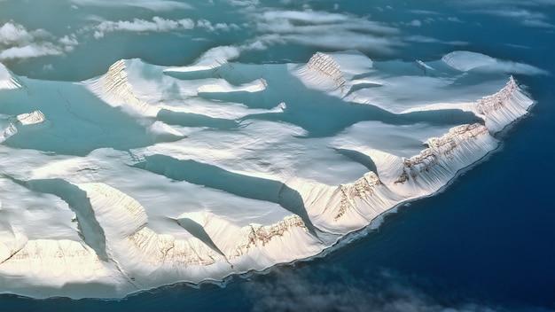 Luchtfotografie van gletsjer