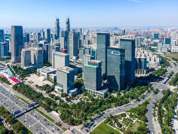 Luchtfotografie van modern stedelijk architectonisch landschap van jinan, china