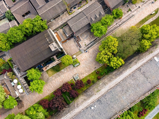 Luchtfotografie van oude gebouwen in laomendong, nanjing