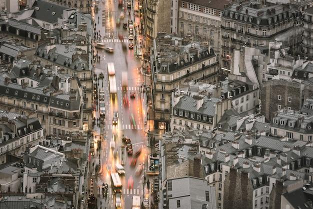 Luchtmening van parijs in oud stadsgebied frankrijk