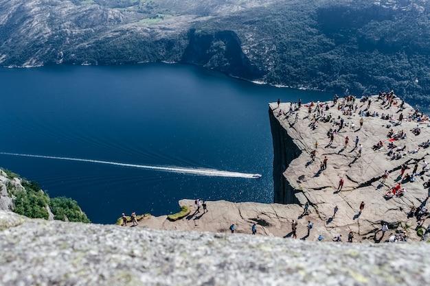 Luchtmening van preikestolen, noorwegen