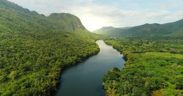 Luchtmening van rivier in tropisch groen bos met bergen op achtergrond