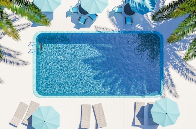 Luchtmening van zwembadhotel