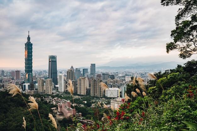 Luchtpanorama over taipeh van de binnenstad met de wolkenkrabber van taipeh met bomen op berg