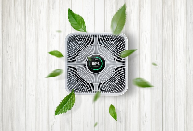 Luchtreiniger een woonkamer, luchtreiniger die fijnstof in huis verwijdert. bescherm pm 2.5 stof- en luchtvervuilingsconcept