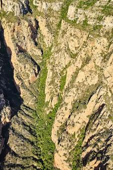 Luchtvallei in de bergen met pijnbomen