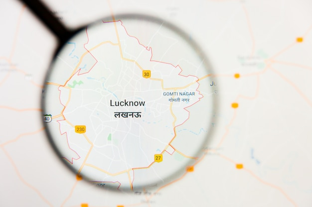 Lucknow, india stad visualisatie illustratief concept op het beeldscherm door vergrootglas