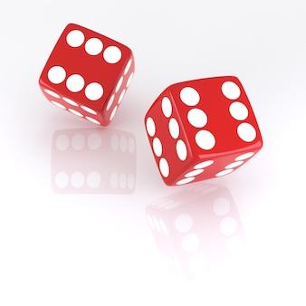 Lucky dice, alle zes. digitaal gegenereerde afbeelding. 3d-rendering