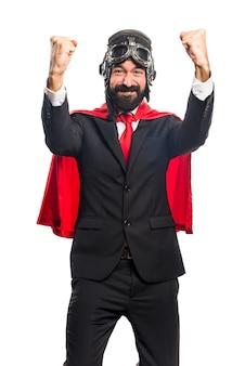 Lucky super hero zakenman