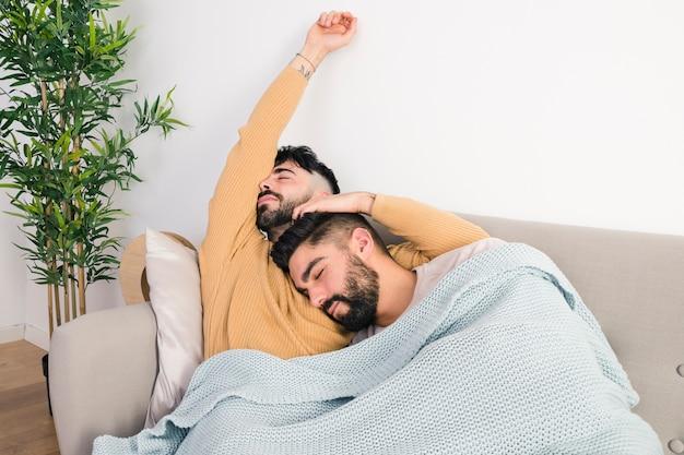 Lui vrolijk paar twee die op bank in één deken liggen
