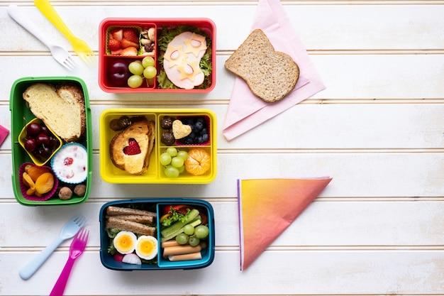 Lunchbox voor kinderen, voedselachtergrond