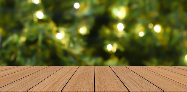 Lur versierde kerst ornament pijnboom achtergrond met houten perspectief tafelblad