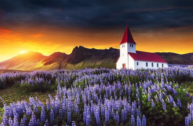 Lutherse kerk in vik. fantastische zonsondergang. ijsland