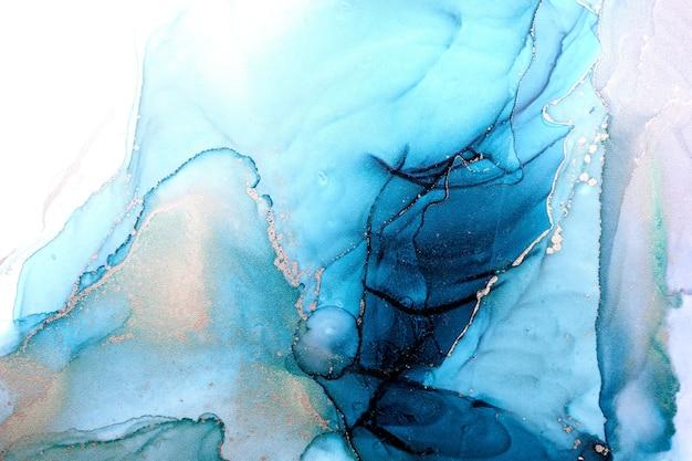 Luxe abstracte achtergrond in alcohol inkt techniek, indigo blauw goud vloeibaar schilderij, verspreide acryl blobs en wervelende vlekken, drukwerk
