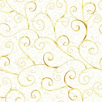 Luxe abstracte gouden naadloze patroon in oosterse stijl op witte achtergrond. kan worden gebruikt voor behang, verpakking, textiel, webpagina-achtergrond. Premium Foto