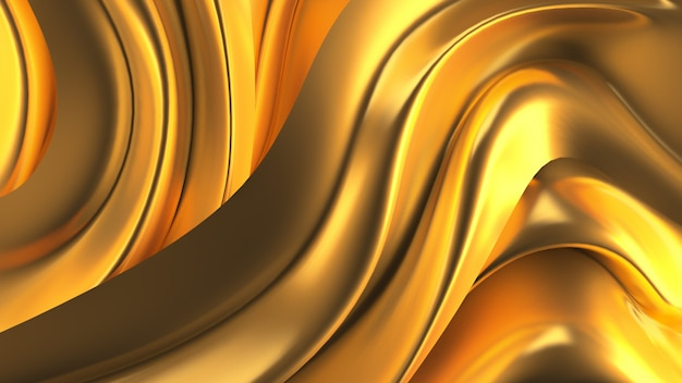 Luxe achtergrond met gouden gordijnstof. 3d-afbeelding